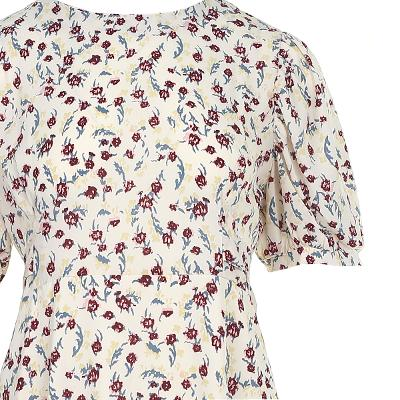 ruffle detail floral pattern long dress
